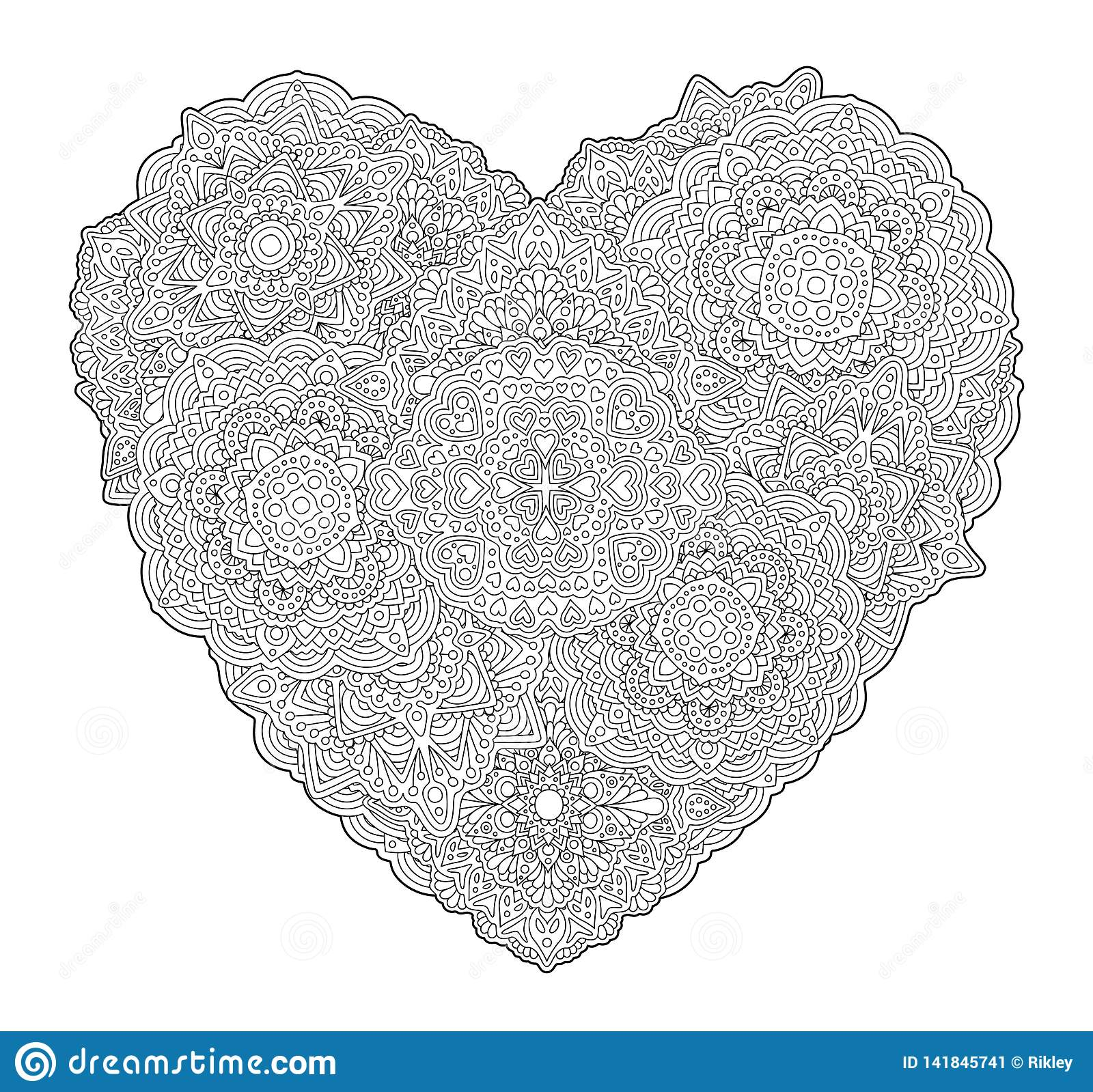 Detailed Coloring Book Page With Shape Of Heart Stock Vector Illustration Of Emotion Feelings 141845741