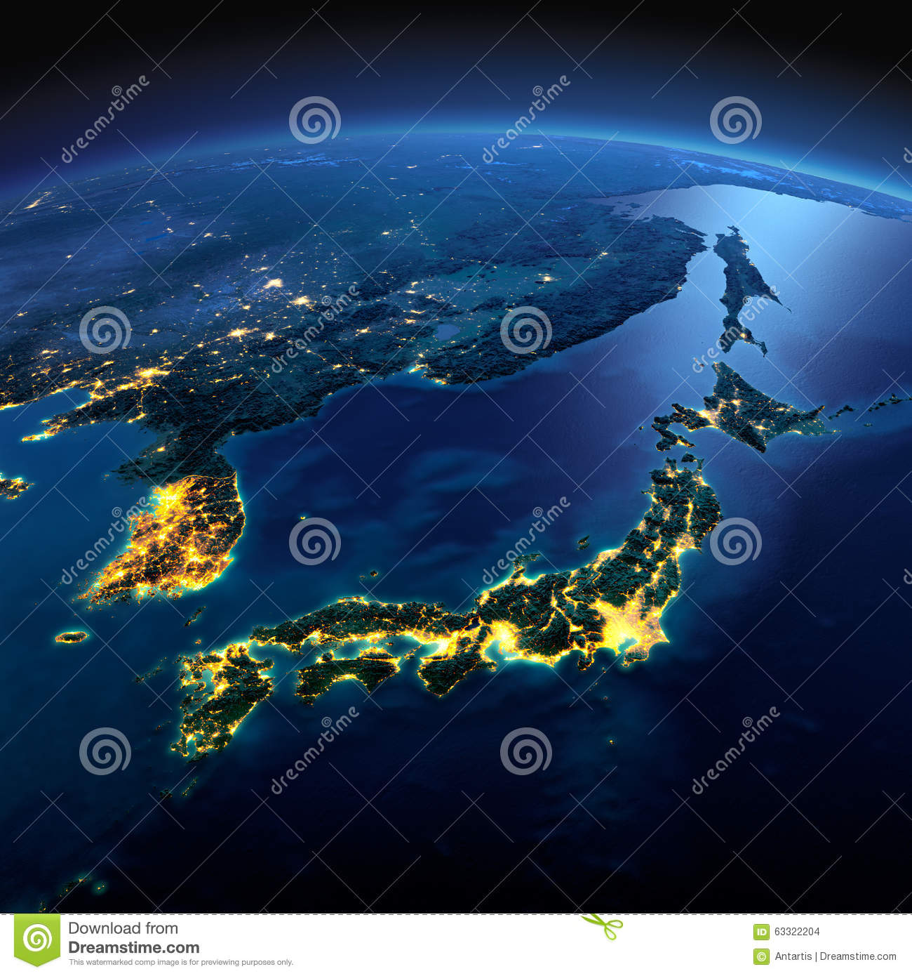 Detailed Earth. Part Of Asia, Japan And Korea, Japanese