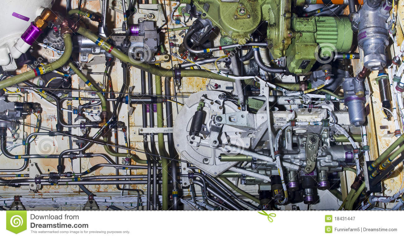 Detailed exposure of aircraft parts.