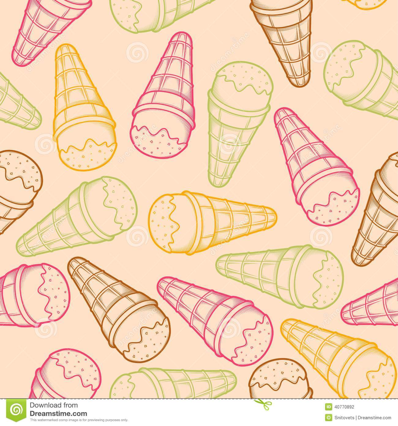 Ice Cream Cones Seamless Pattern Background Stock Vector: Detailed Graphic Ice Cream Cone Seamless Pattern. Colorful