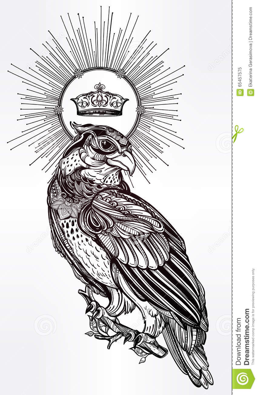 Detailed Hand Drawn Bird Of Prey With A Crown Stock Vector  Image
