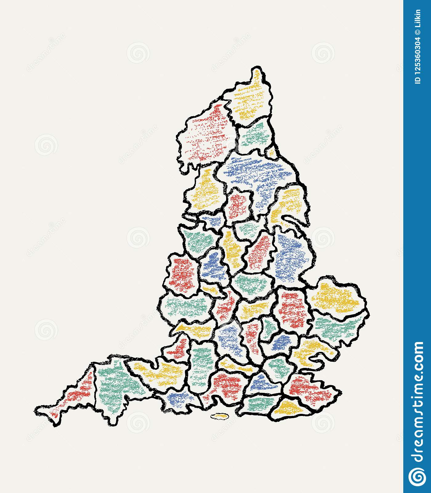 Full Map Of England.Hand Drawn Map Of England Stock Vector Illustration Of Detailed