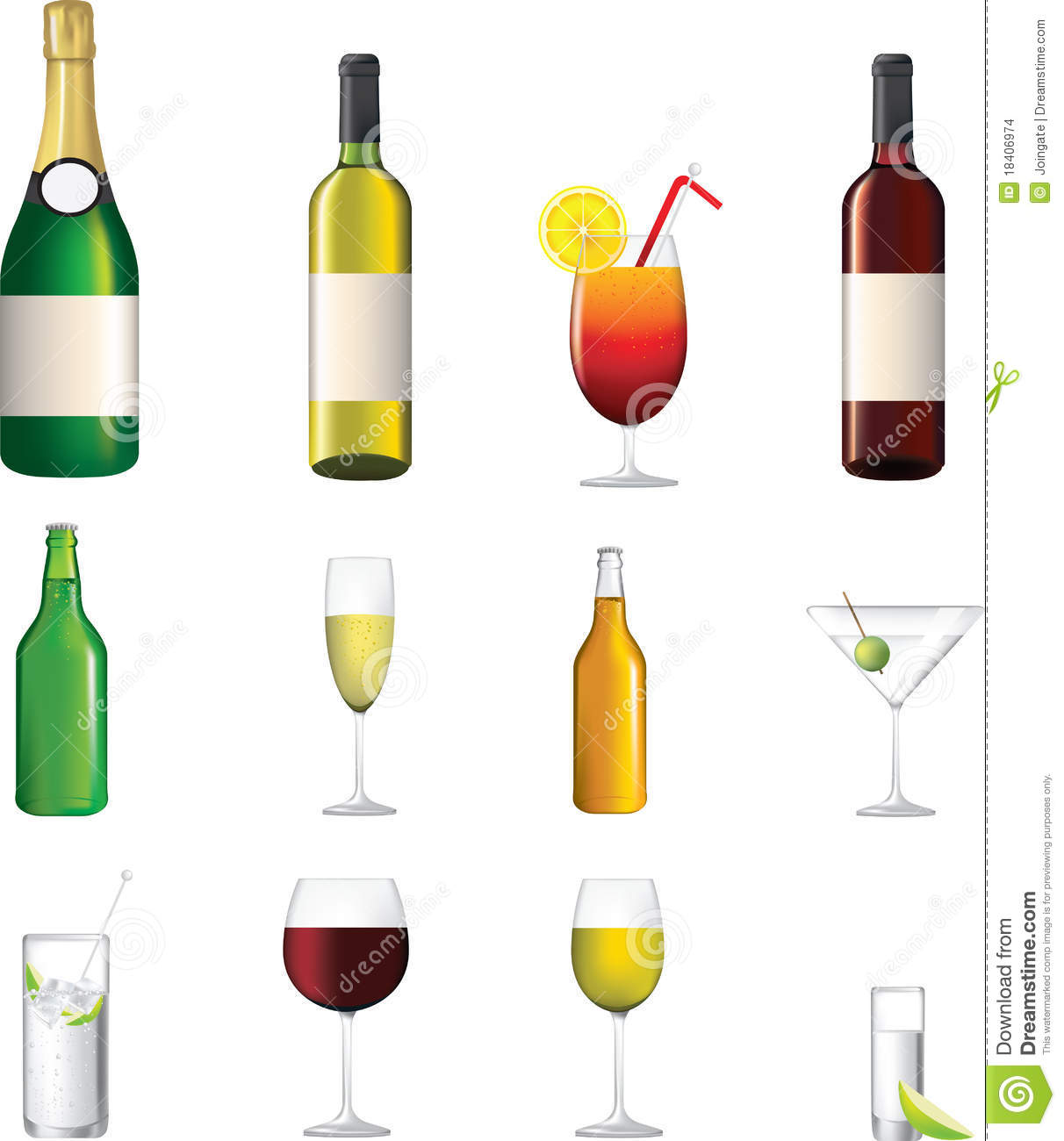 Detailed icon of different alcoholic drinks stock images for List of alcoholic mixed drinks