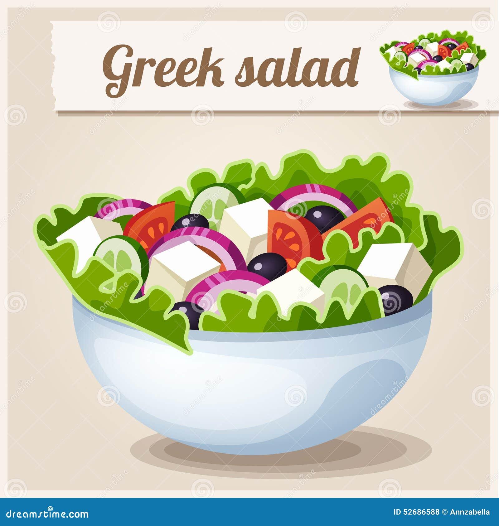 Detailed Icon. Greek salad stock vector. Illustration of ...