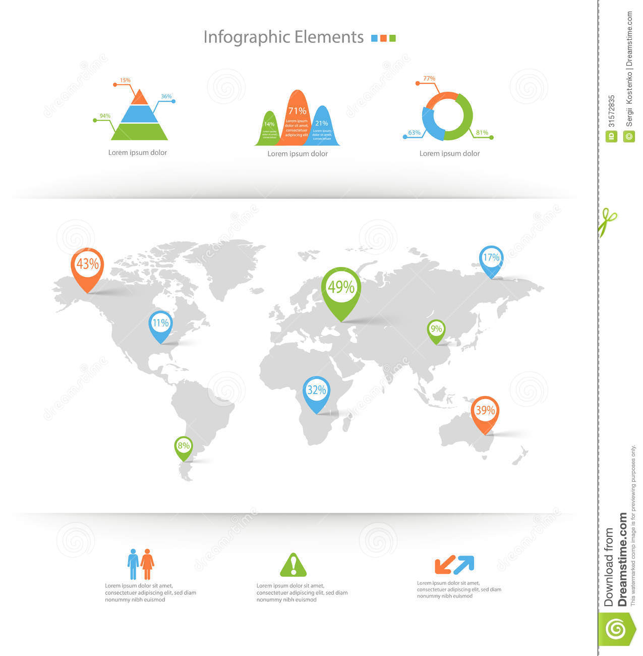 Detailed Infographic Elements Set With World Map Graphics ...