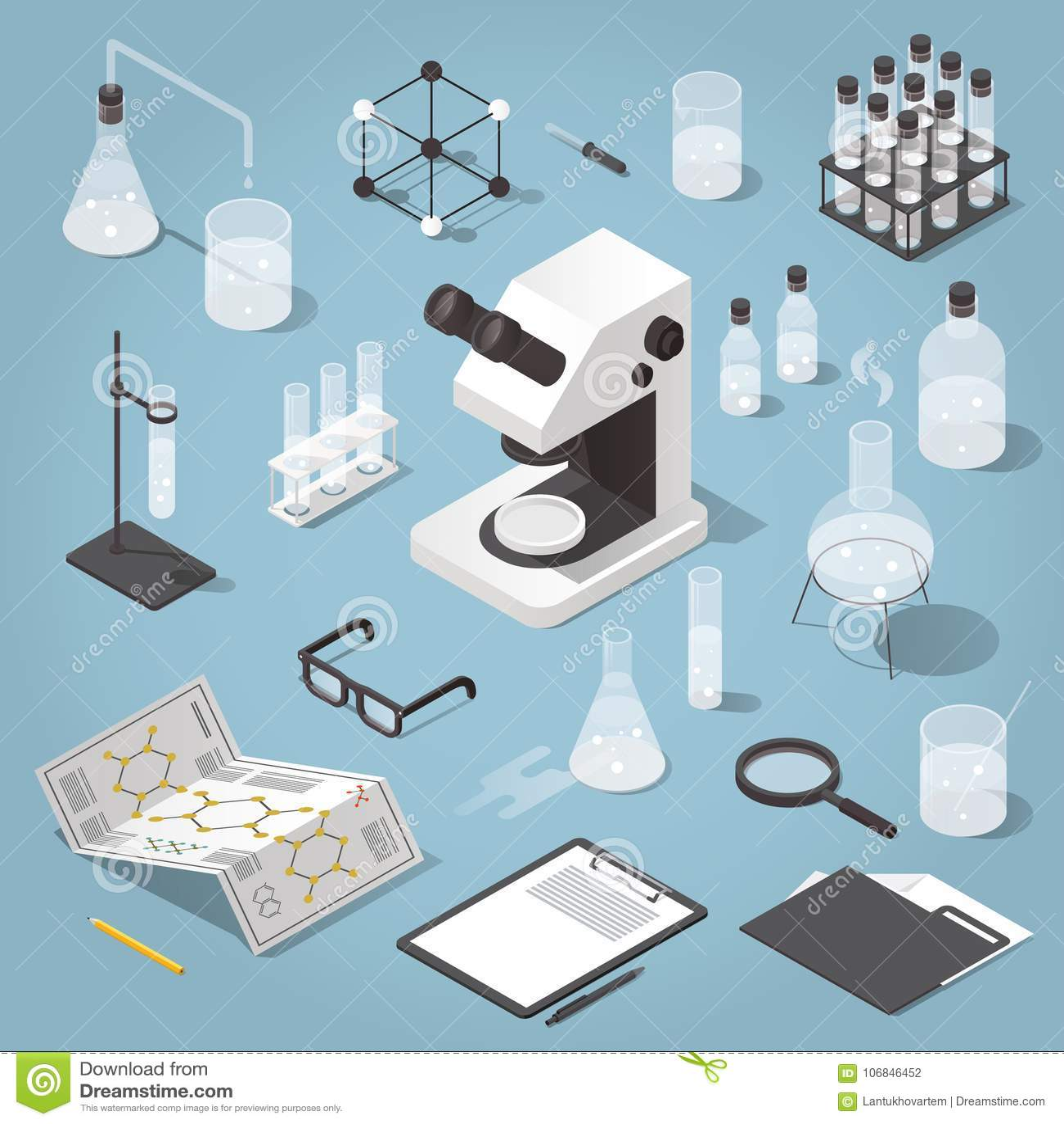 Chemistry laboratory objects set