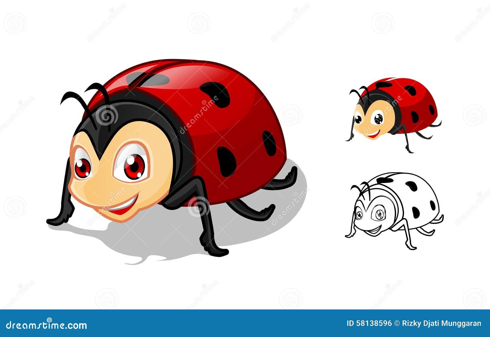 insect ladybird beetle line icon stock vector image 89697033