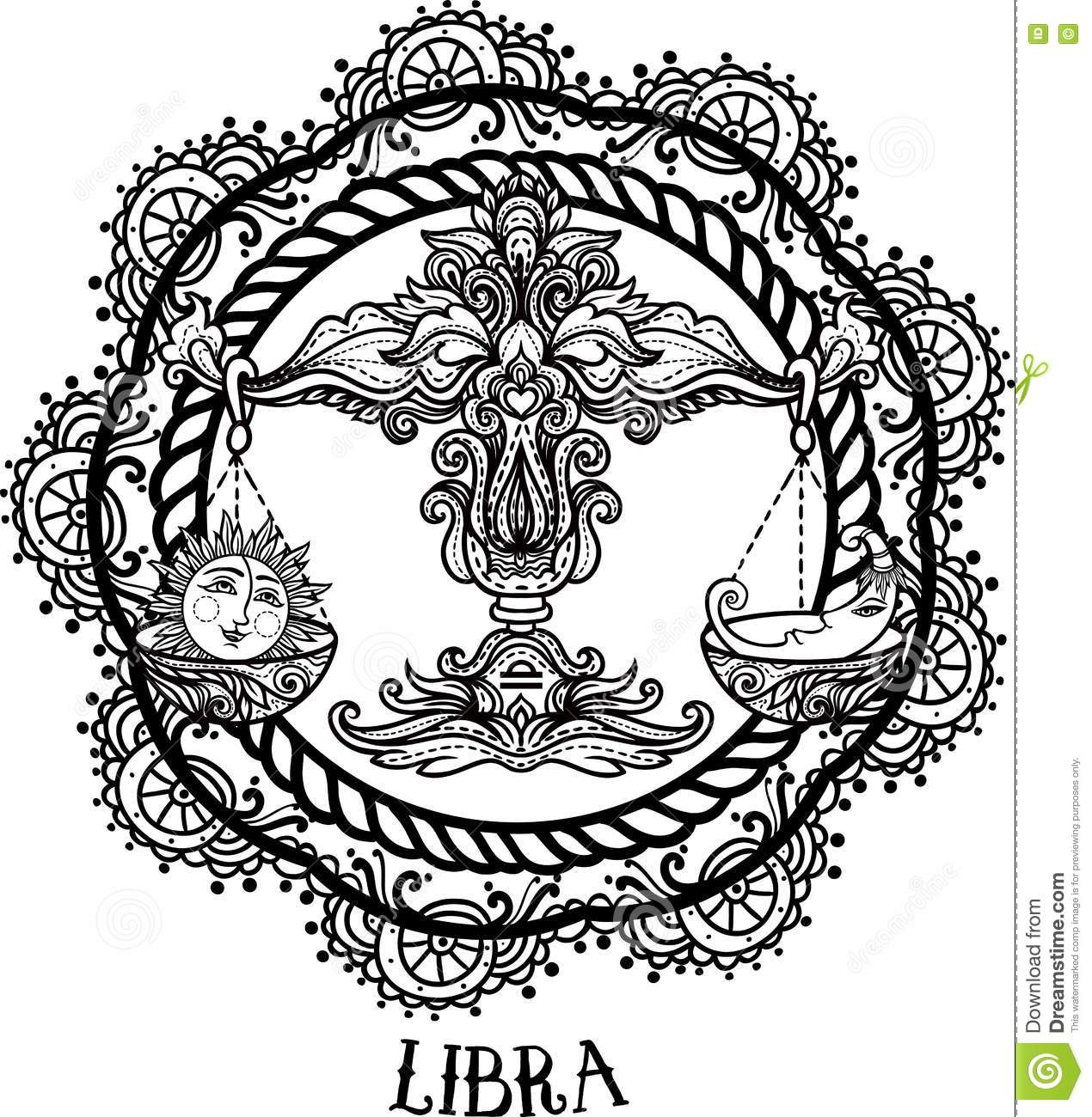 Line Drawing Styles : Detailed libra in aztec style stock illustration image
