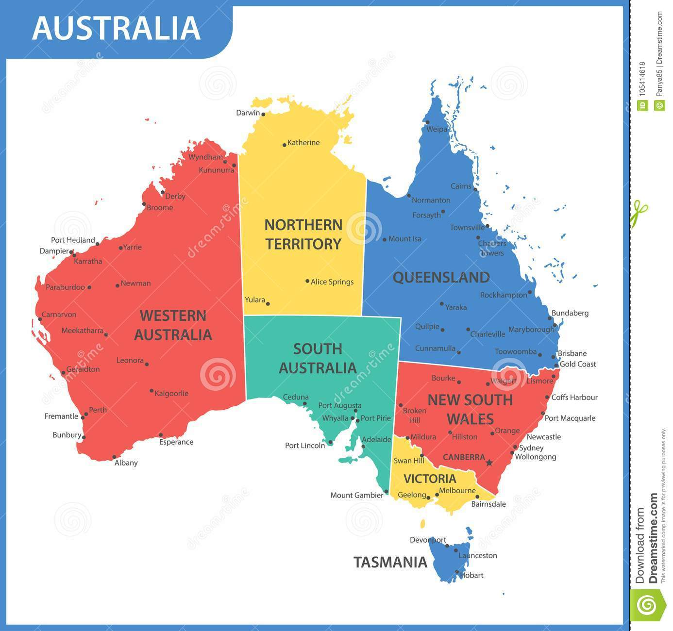 The Detailed Map Of The Australia With Regions Or States And ...