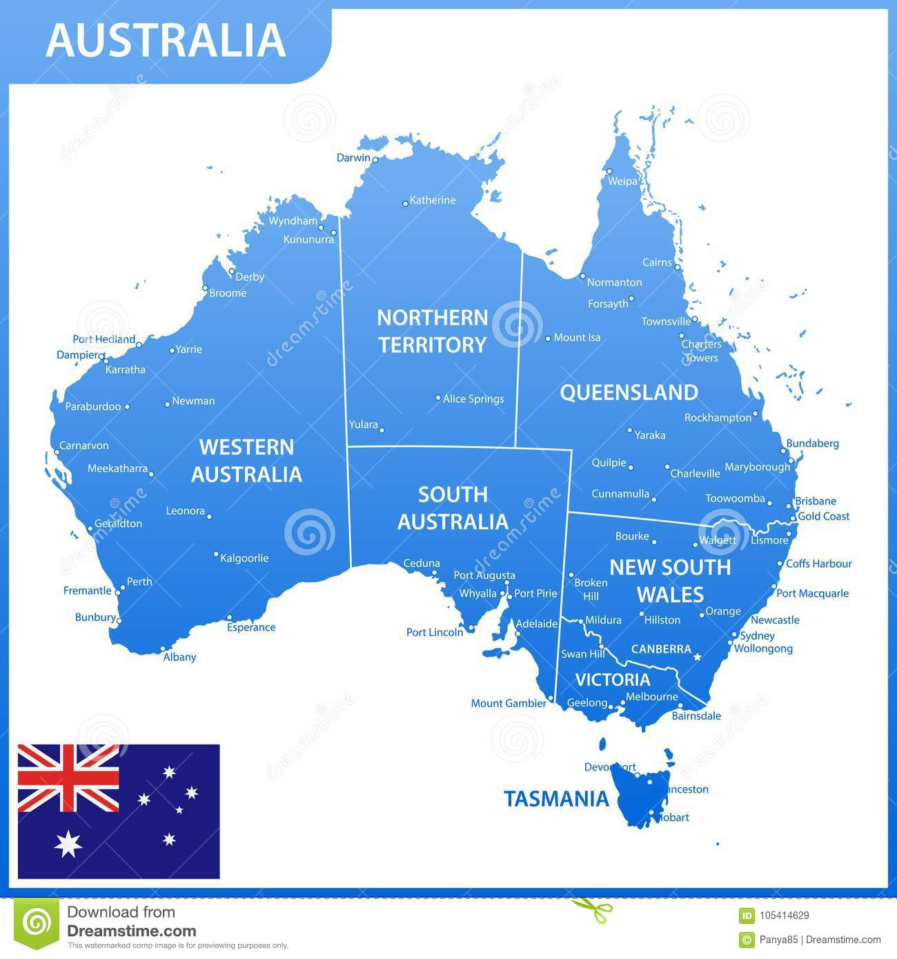 The Detailed Map Of The Australia With Regions Or States And Cities ...