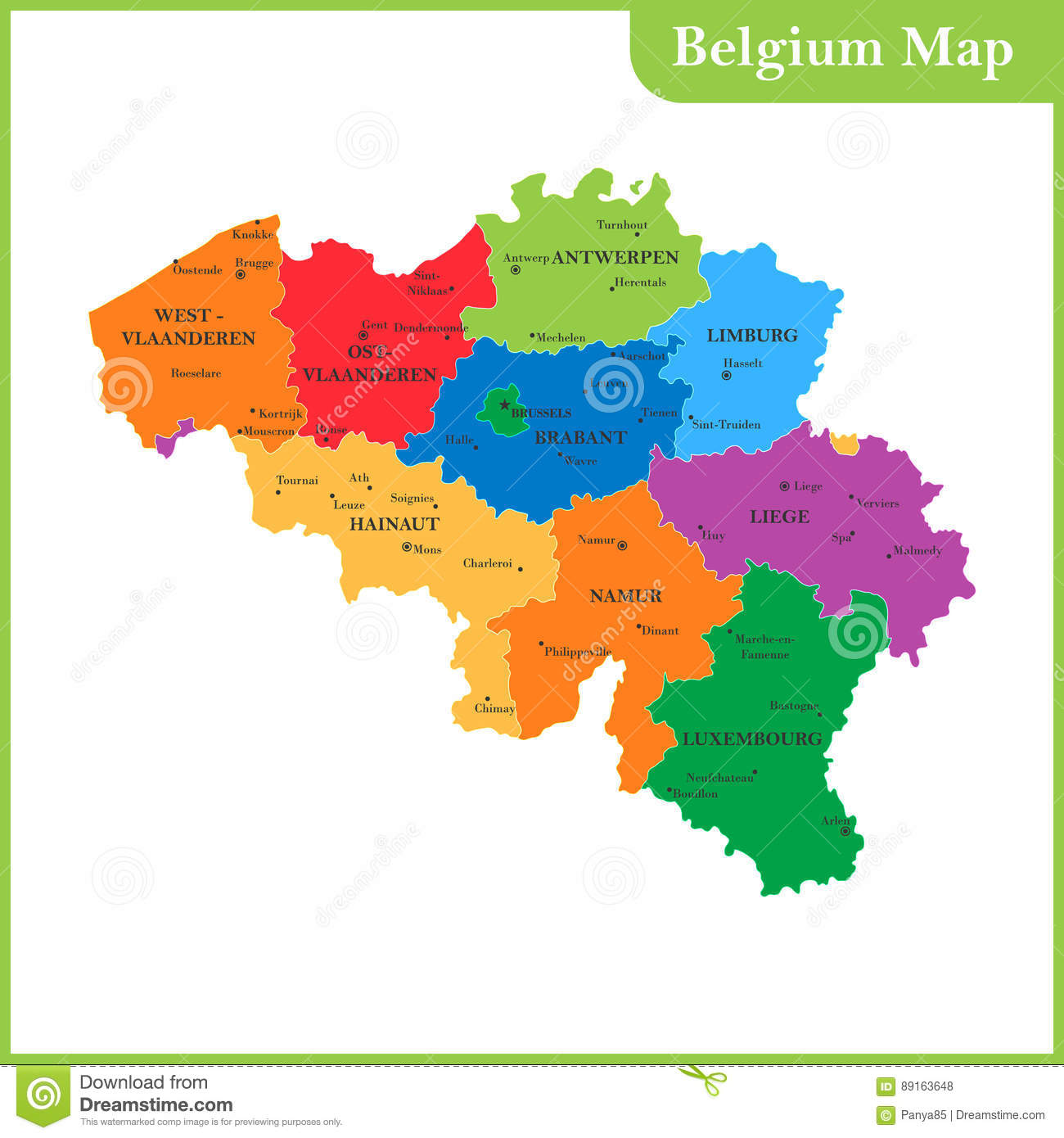 The Detailed Map Of The Belgium With Regions Or States And Cities