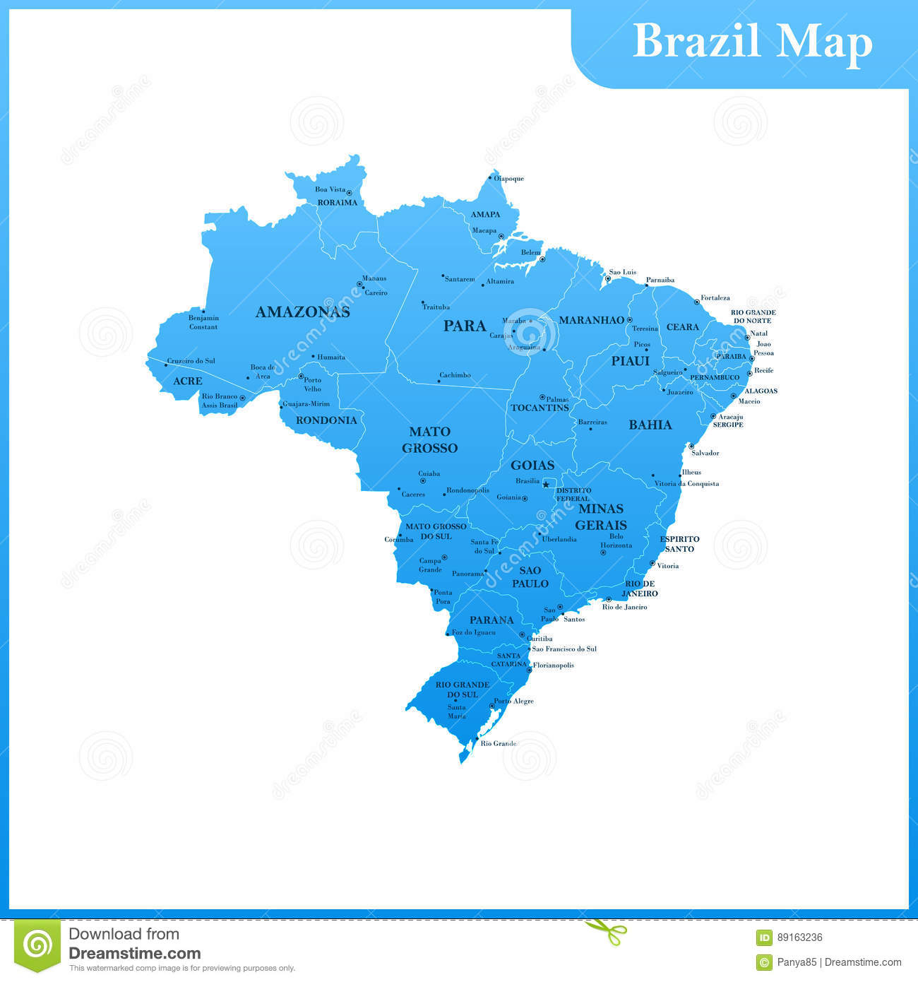 The Detailed Map Of The Brazil With Regions Or States And Cities - Brazil states map