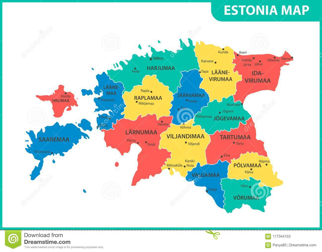 The Detailed Map Of Estonia With Regions Or States And Cities ...