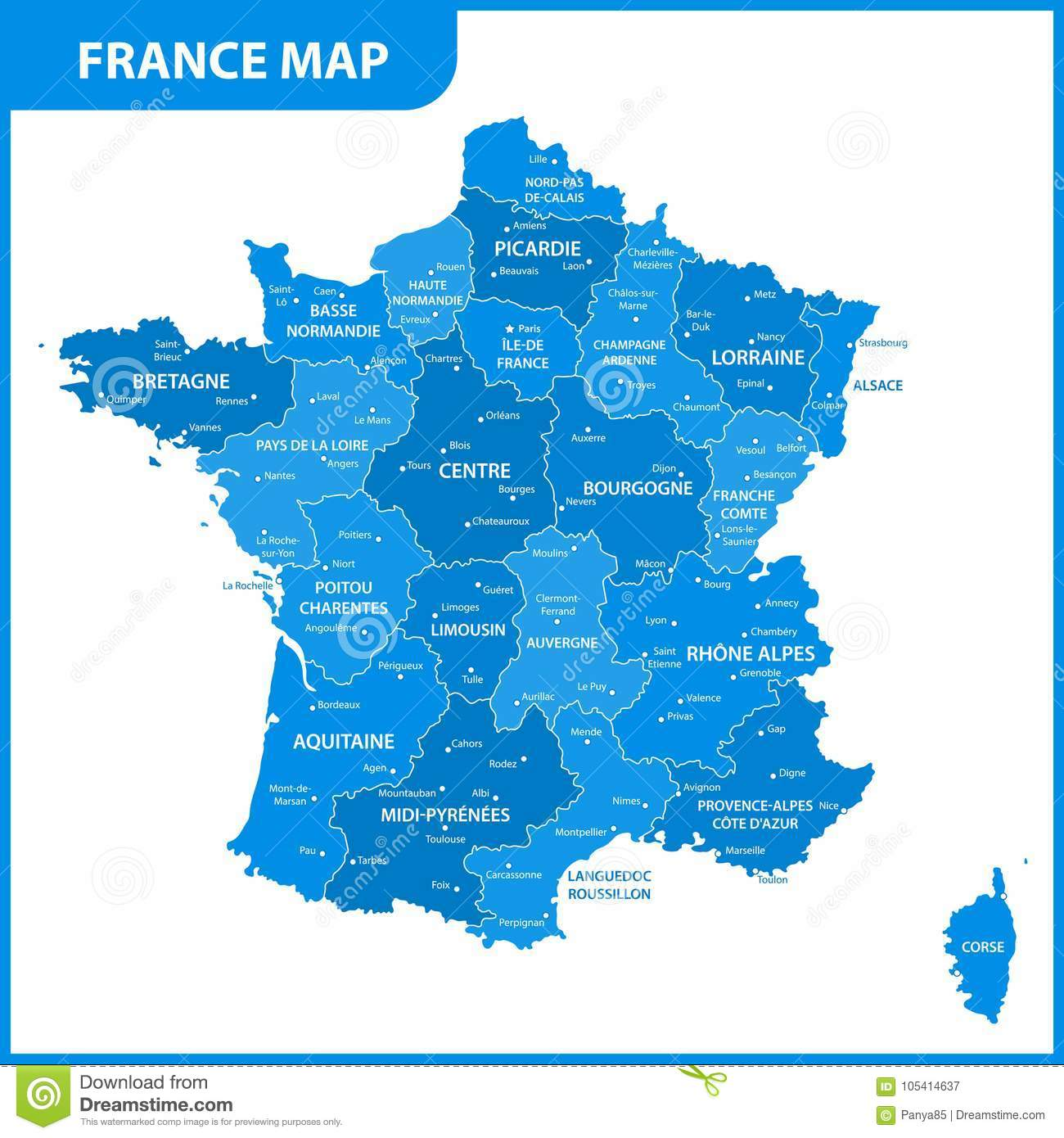 Map Of France Lille Region.The Detailed Map Of The France With Regions Or States And