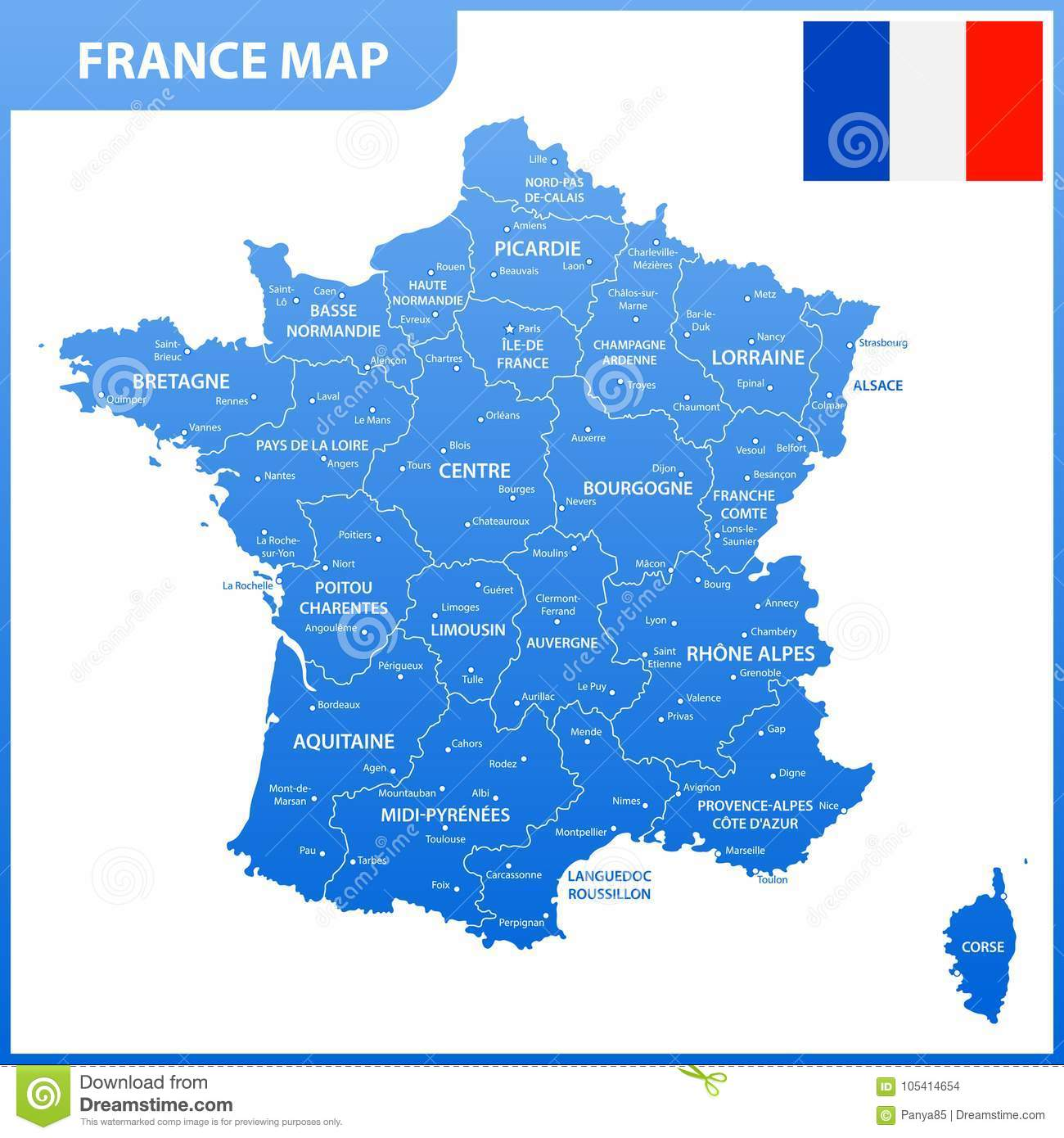 Map Of France With Regions And Cities.The Detailed Map Of The France With Regions Or States And Cities