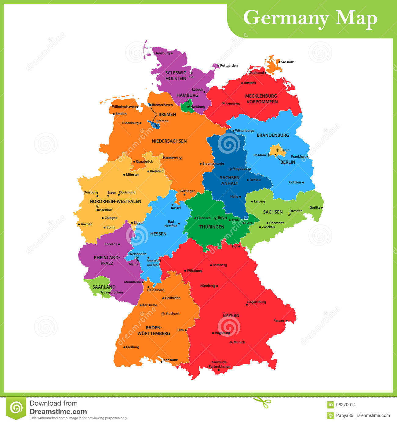 Download The Detailed Map Of The Germany With Regions Or States And Cities,  Capitals Stock