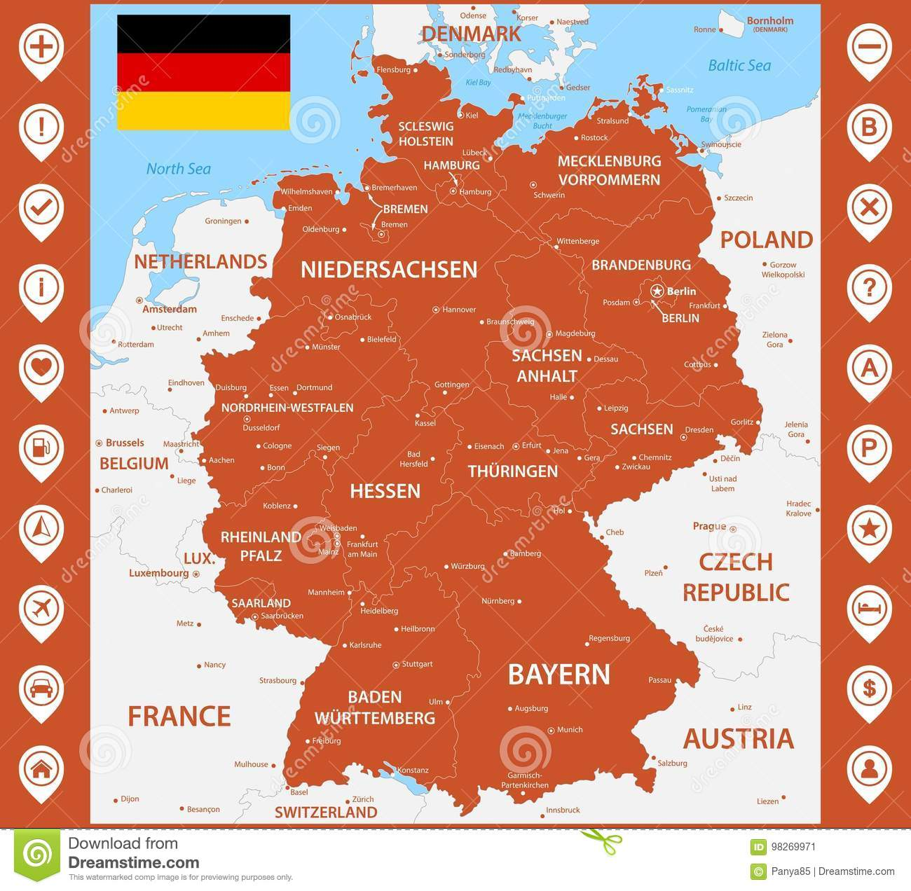 The Detailed Map Of The Germany With Regions Or States And Cities ...