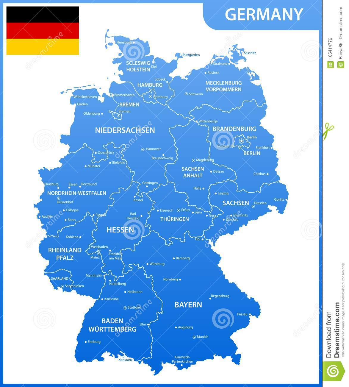 The Detailed Map Of The Germany With Regions Or States And Cities