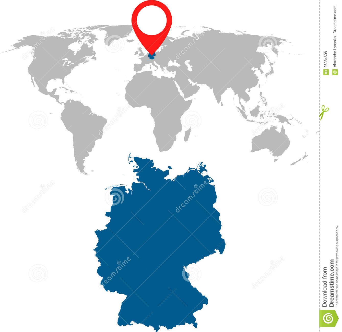 Detailed Map Of Germany And World Map Navigation Set Flat Vector