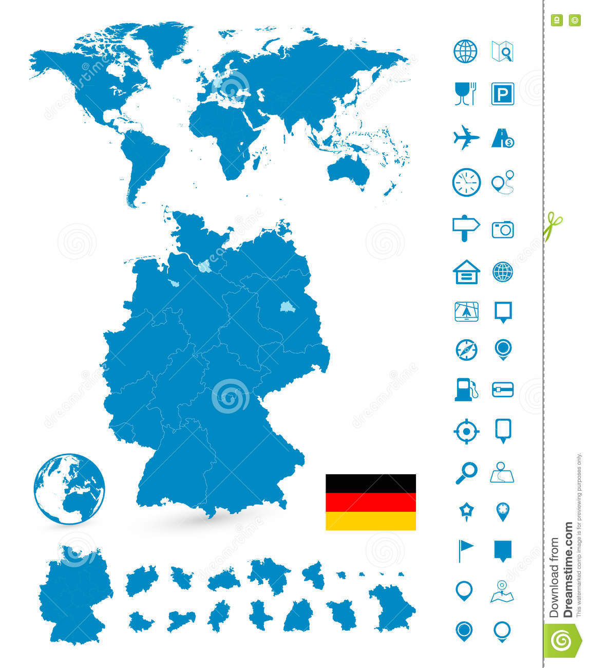 Detailed map of germany and world map navigation set stock vector detailed map of germany and world map navigation set gumiabroncs Gallery