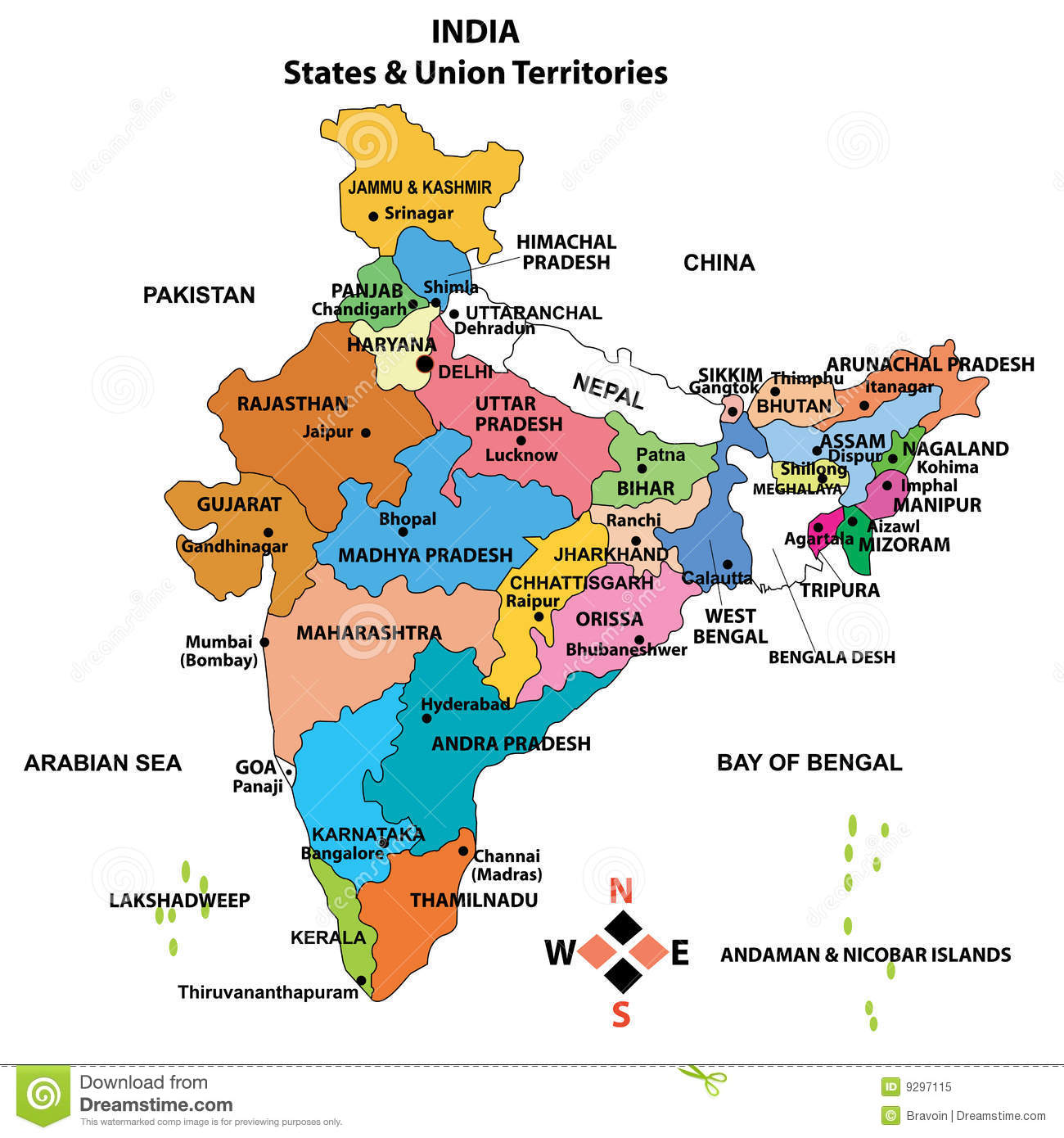 Map Of India With States Name Detailed Map of India stock vector. Illustration of kashmir   9297115