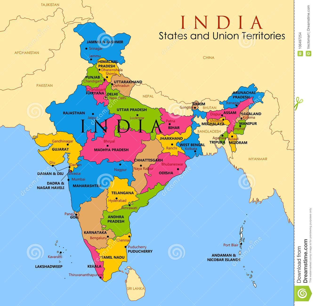 Detailed Map Of Asia.Detailed Map Of India Asia With All States And Country Boundary