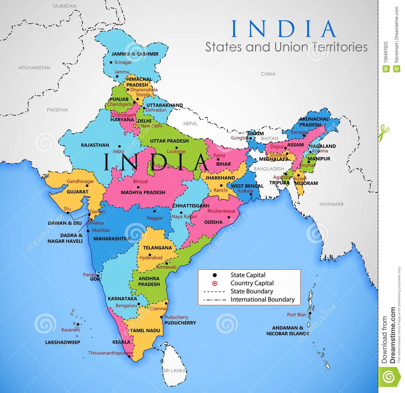 Detailed Map Of India Asia With All States And Country Boundary - A map with all the states
