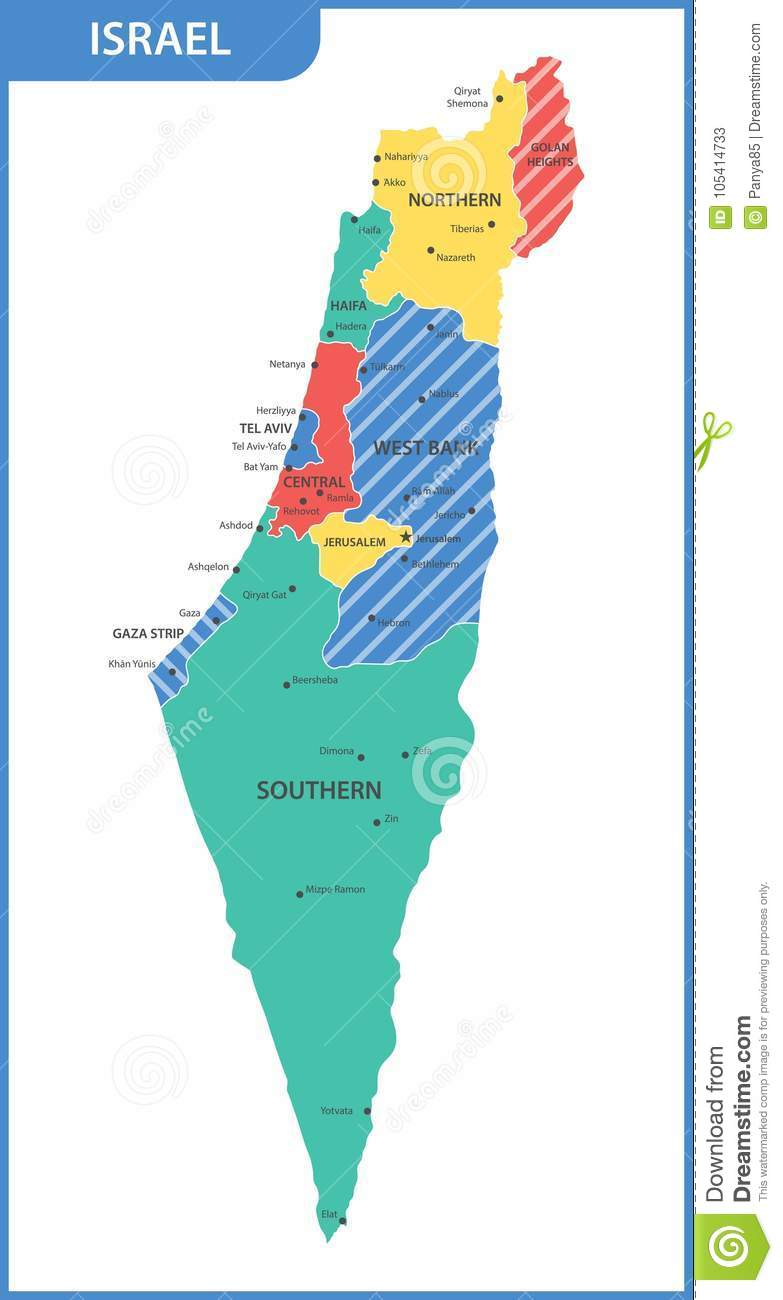The Detailed Map Of The Israel With Regions Or States And Cities
