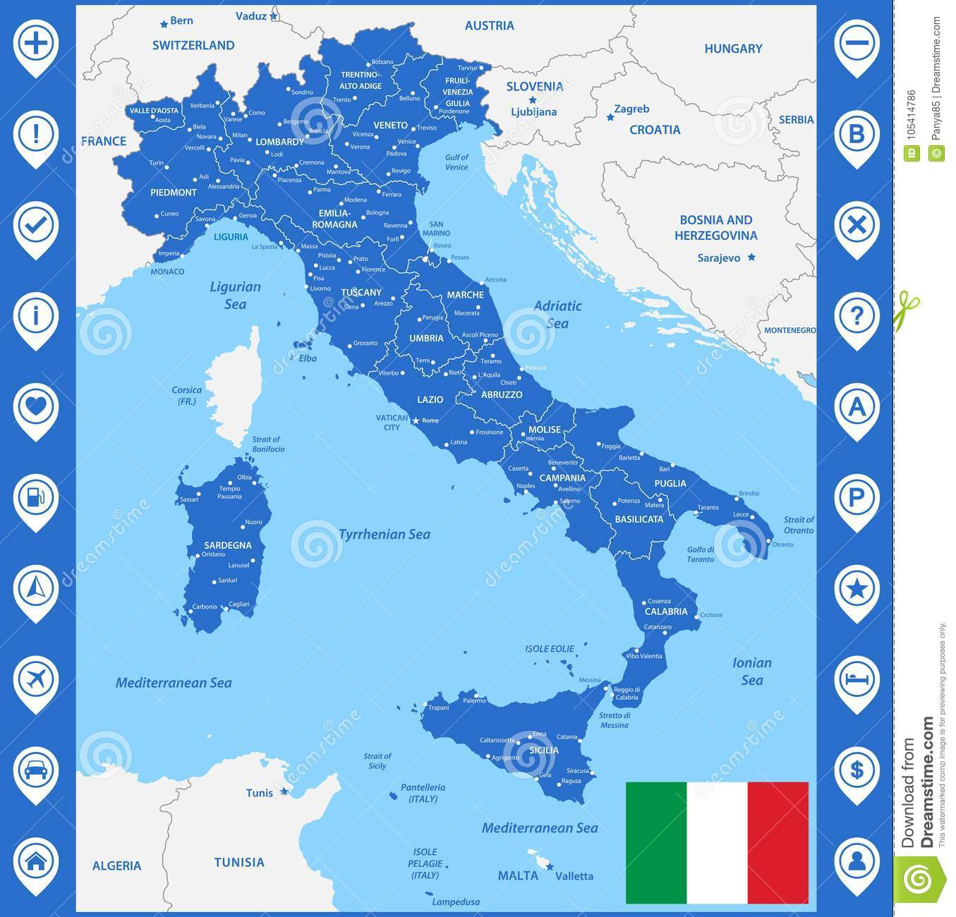 Map Of Italy Regions And Cities.The Detailed Map Of The Italy With Regions Or States And Cities