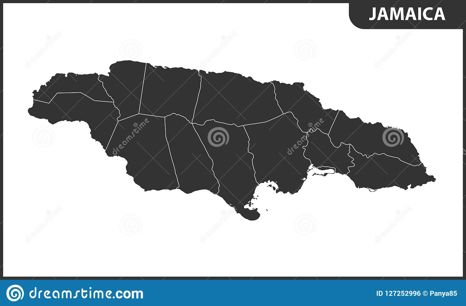 The Detailed Map Of Jamaica With Regions Or States. Administrative ...