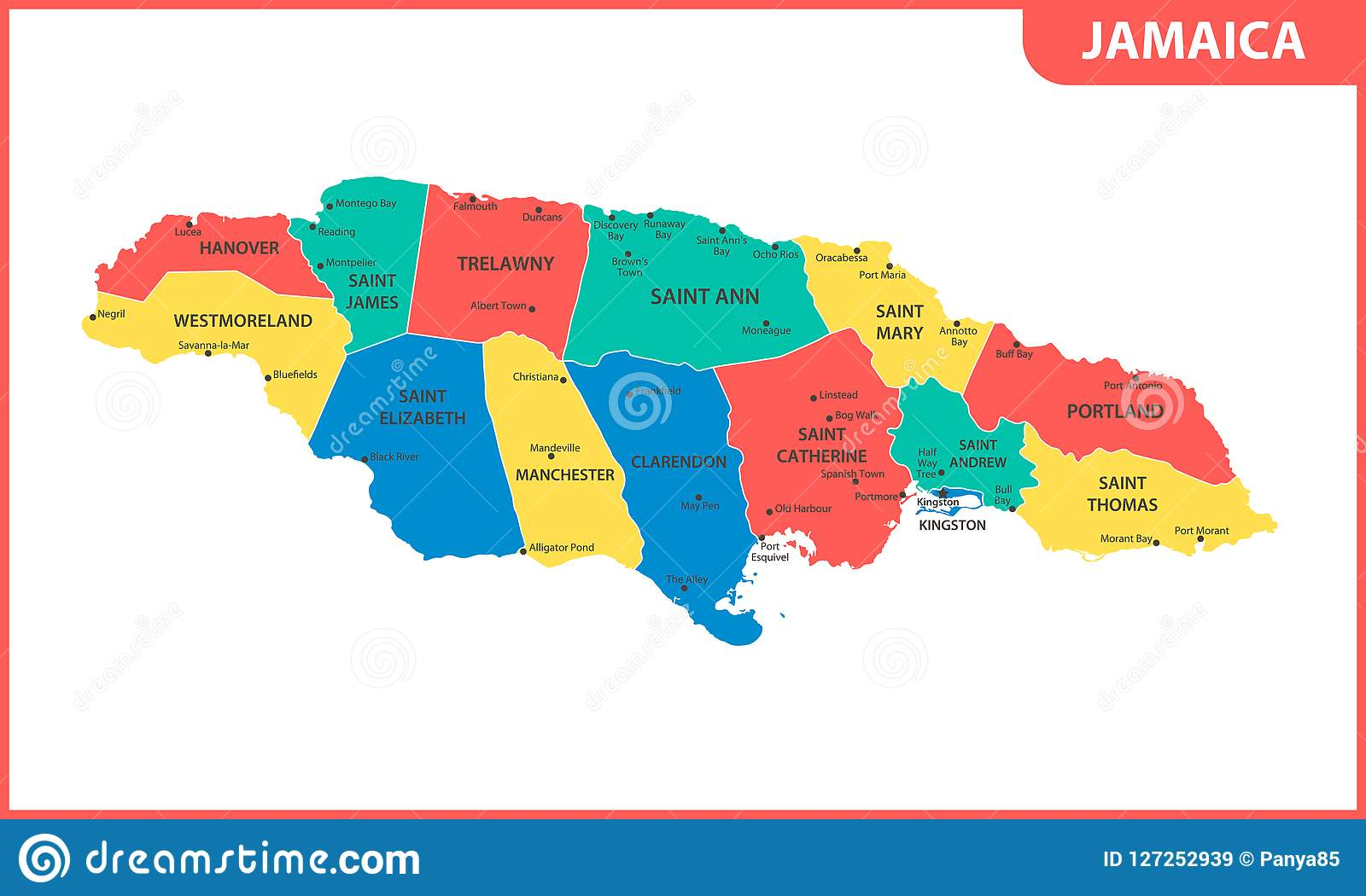 The Detailed Map Of Jamaica With Regions Or States And Cities ...