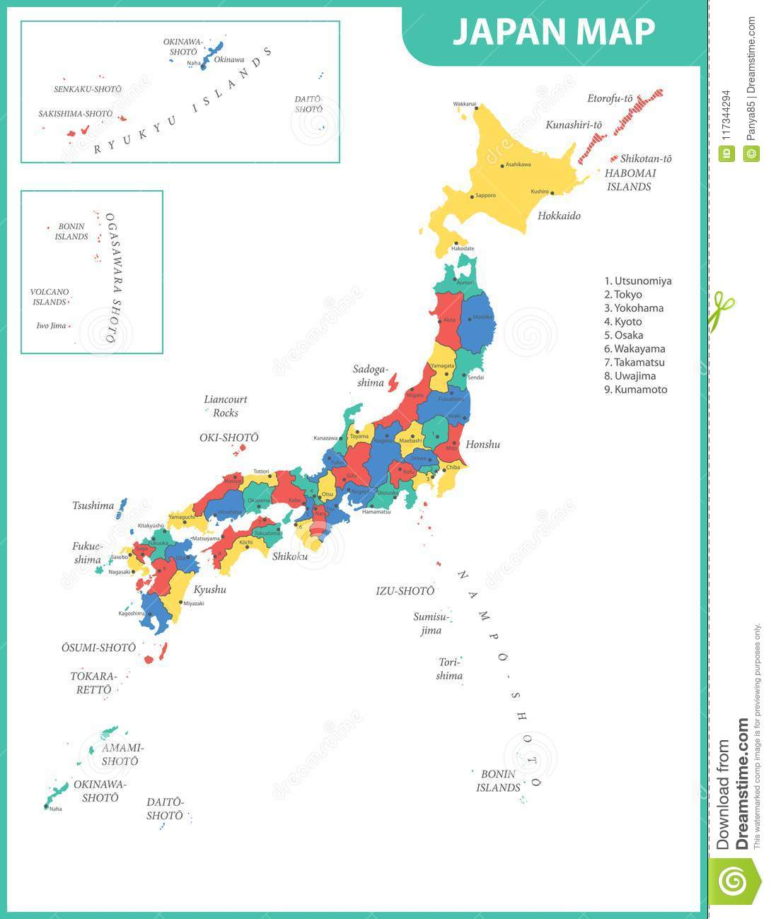 The Detailed Map Of The Japan With Regions Or States And Cities ...