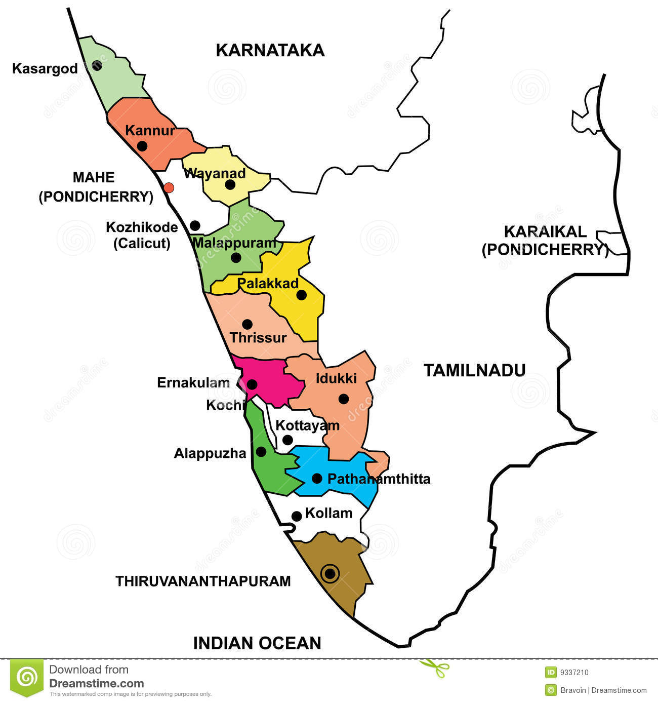 Detailed Map Of Kerala Photo Image 9337210 – Tourist Map of Kerala