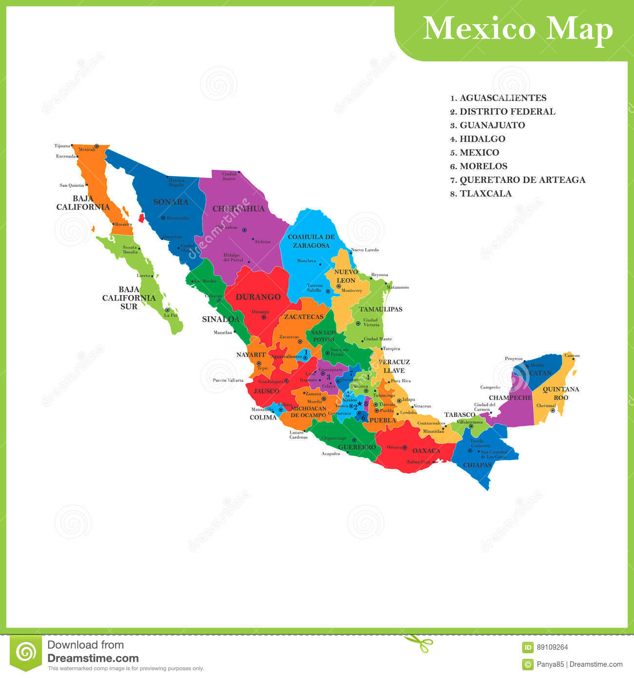 Central America And Mexico Map With Capitals.The Detailed Map Of The Mexico With Regions Or States And Cities