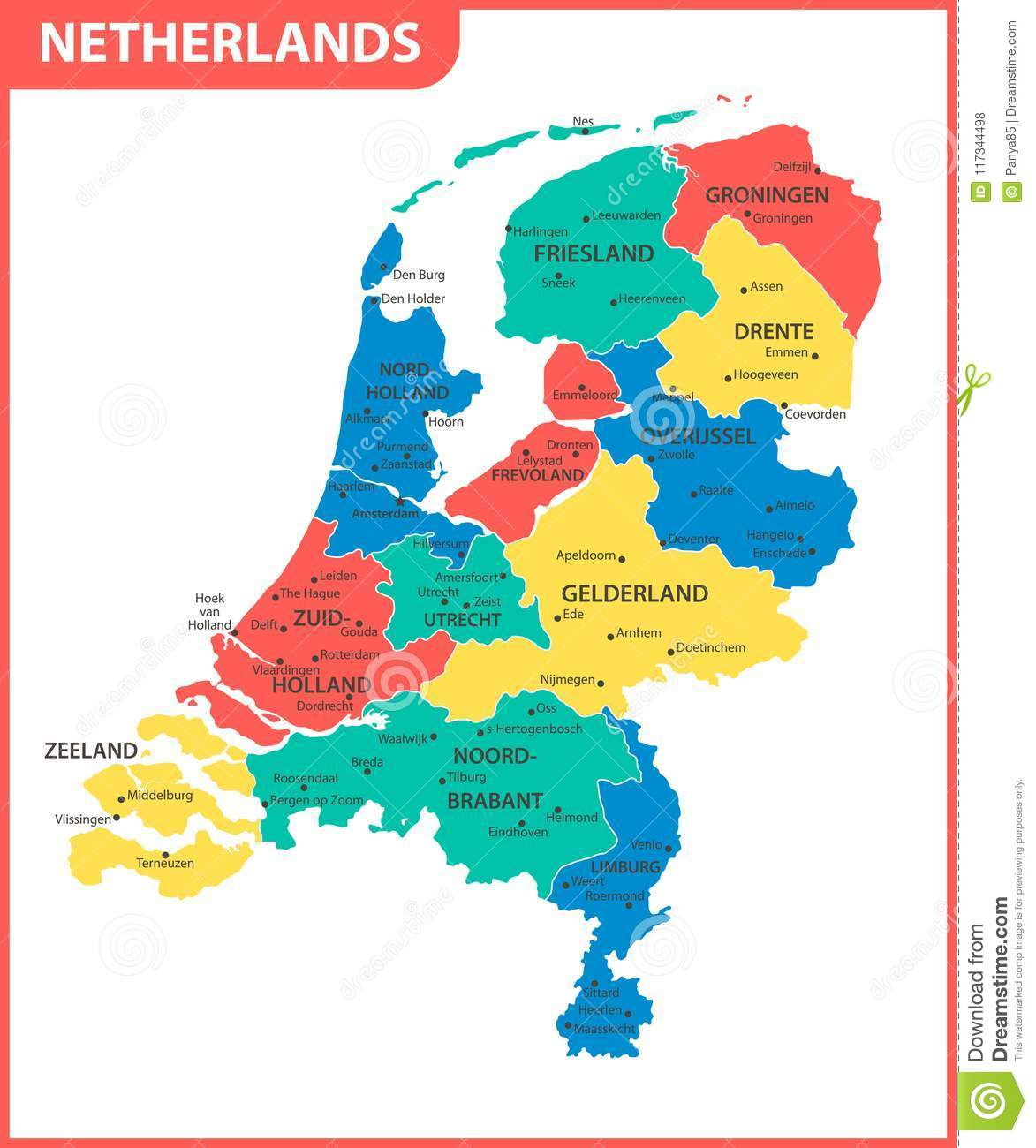 The Detailed Map Of Netherlands With Regions Or States And Cities ...