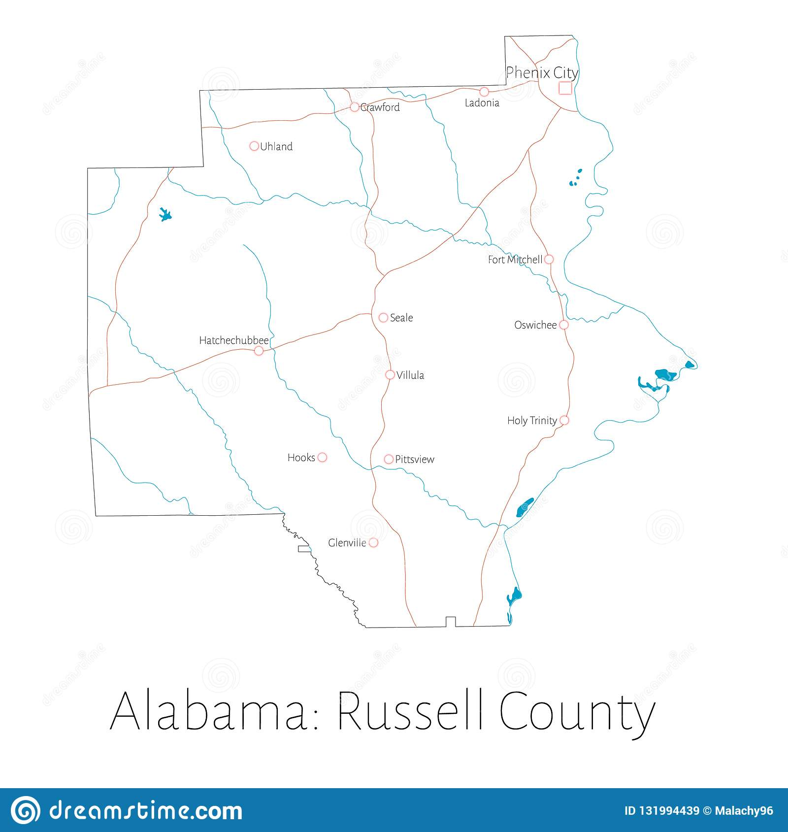Map Of Russell County In Alabama Stock Vector - Illustration of ...
