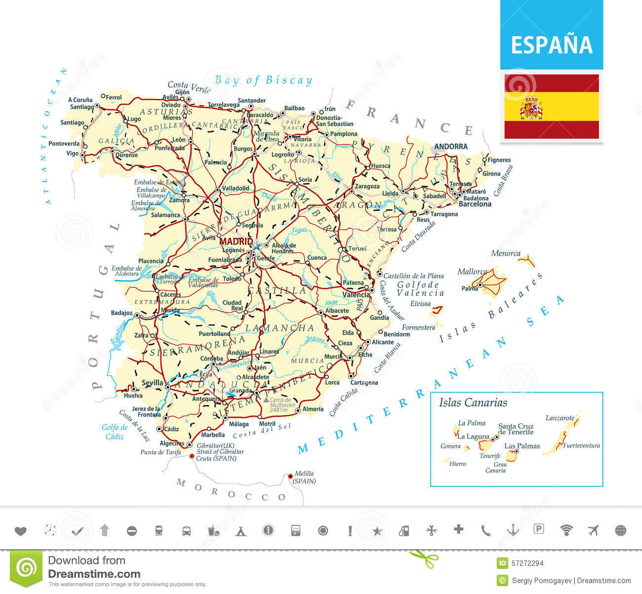 Map Of Spain Reus.Detailed Map Of Spain Stock Vector Illustration Of Geographical