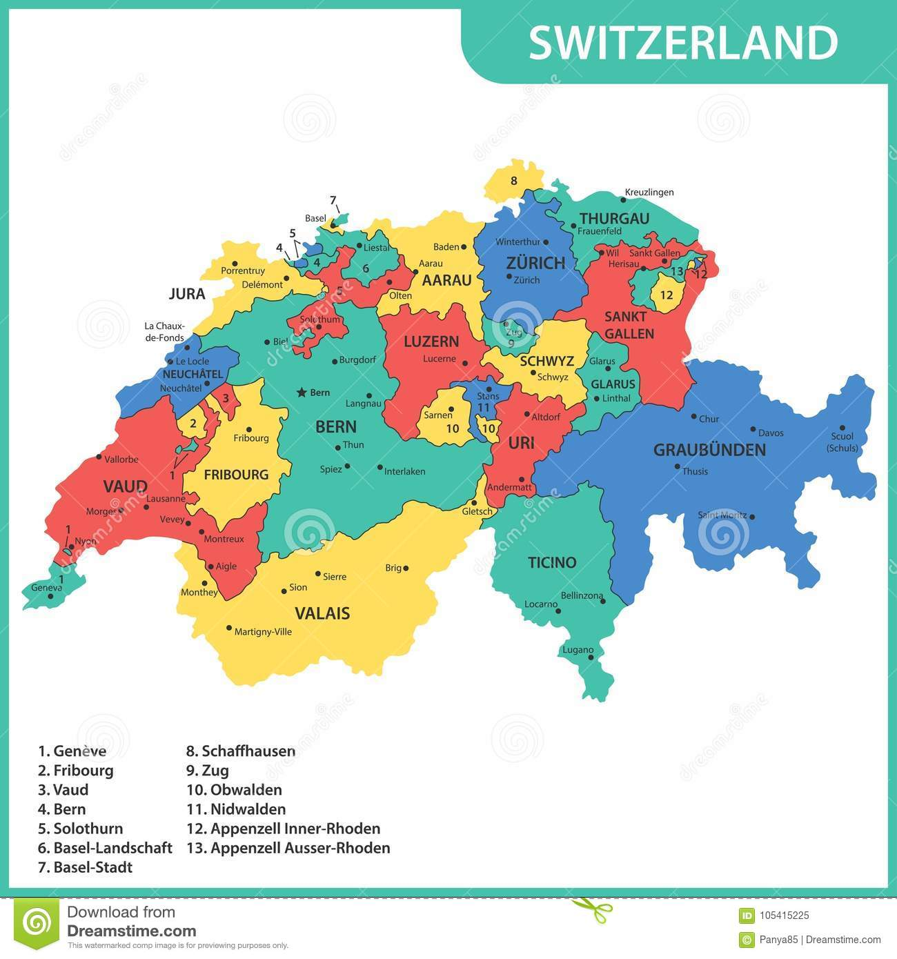 Picture of: The Detailed Map Of The Switzerland With Regions Or States And Cities Capitals Stock Vector Illustration Of Atlas Basel 105415225