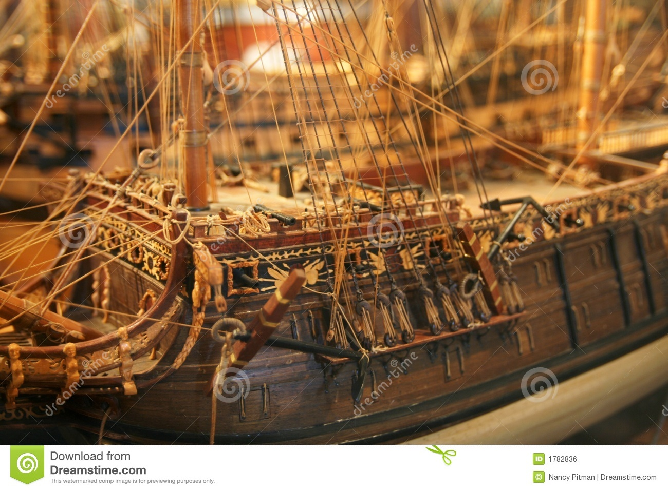 Detailed Model Of Old Mast Ship Royalty Free Stock Image - Image ...