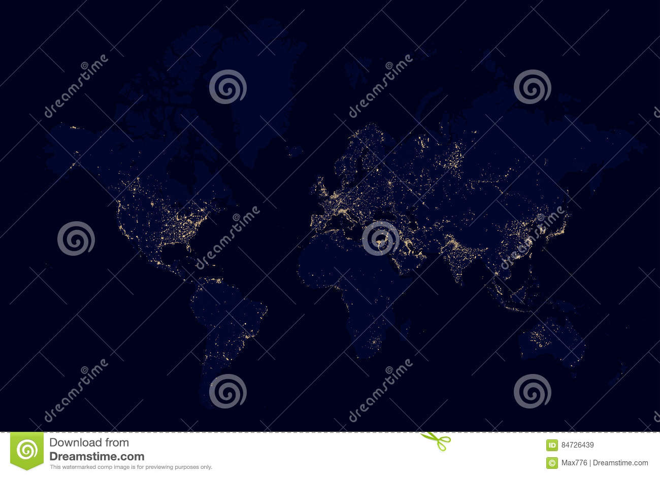 Detailed Night Map Of The World With Lights Cities Stock Vector