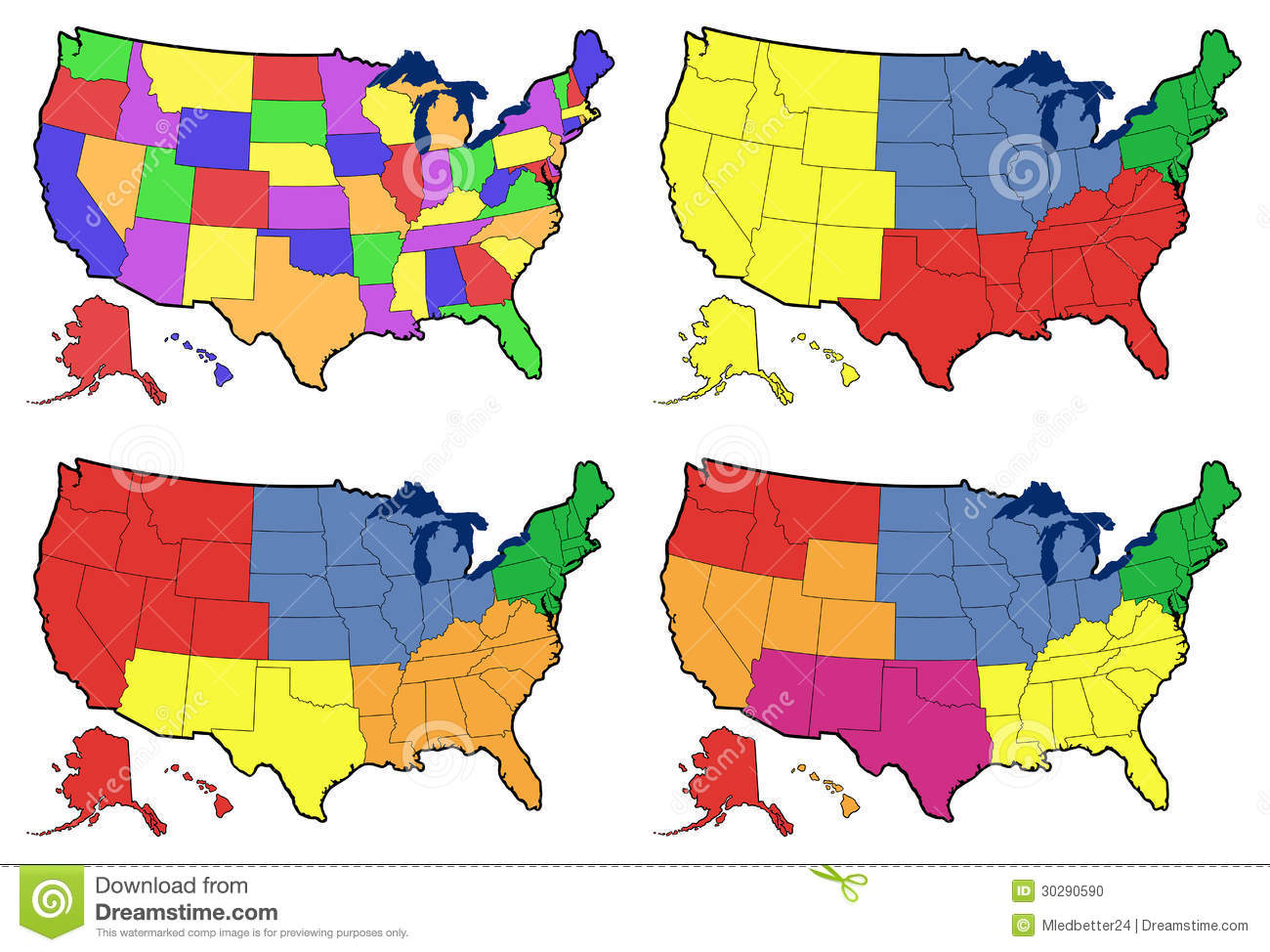Four Versions Of Regional Map Of United States Stock Illustration