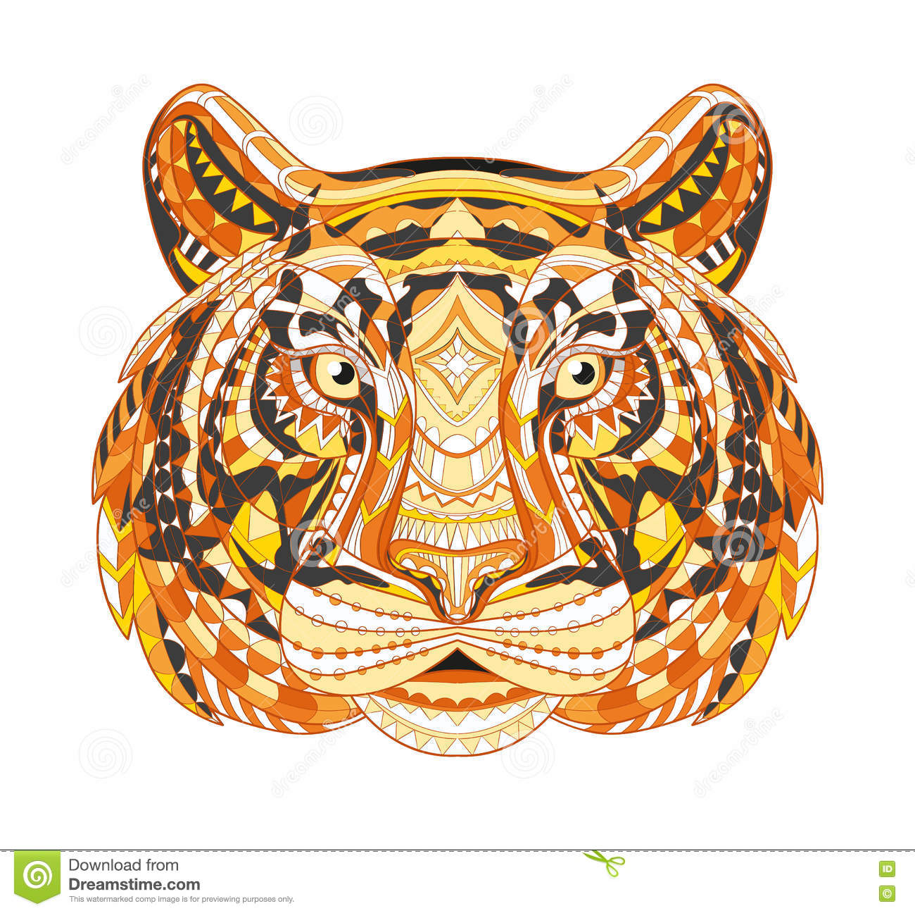 Detailed Patterned Head Of The Tiger African Indian Totem
