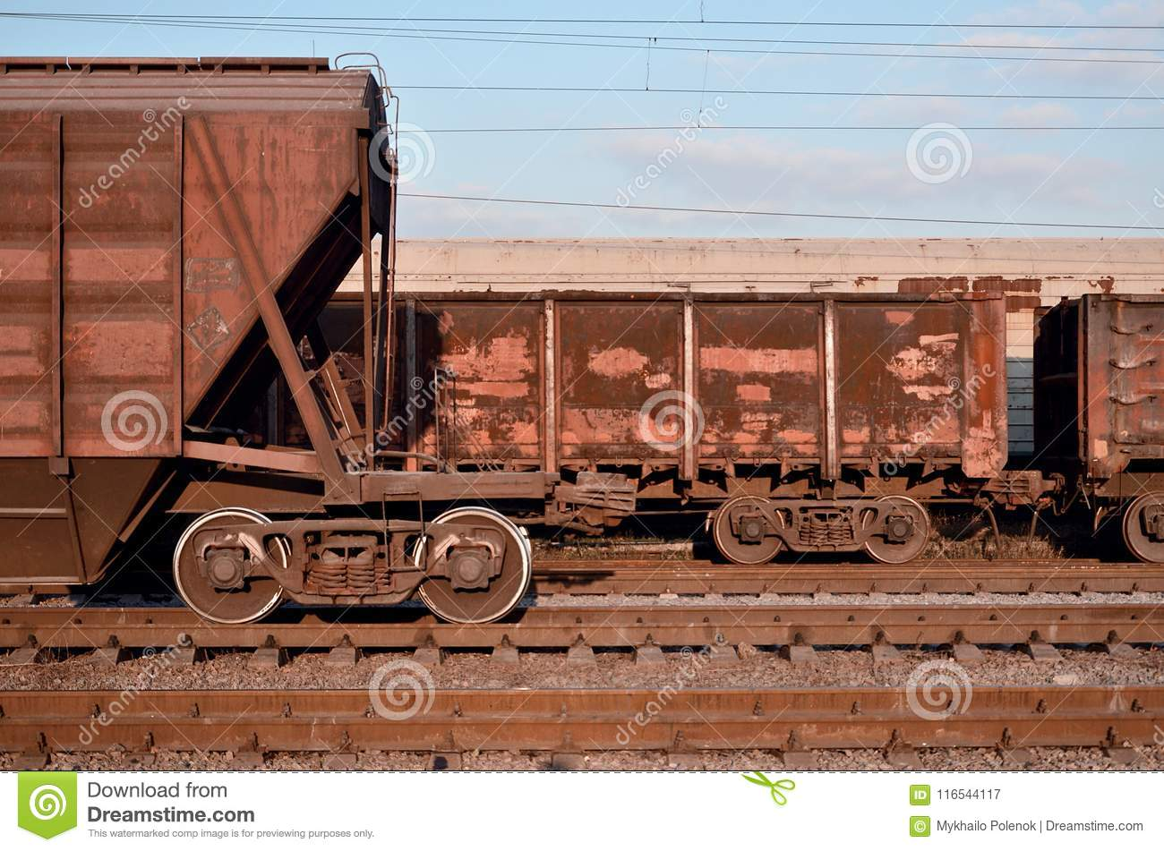 Detailed Photo Of Railway Freight Car  A Fragment Of The