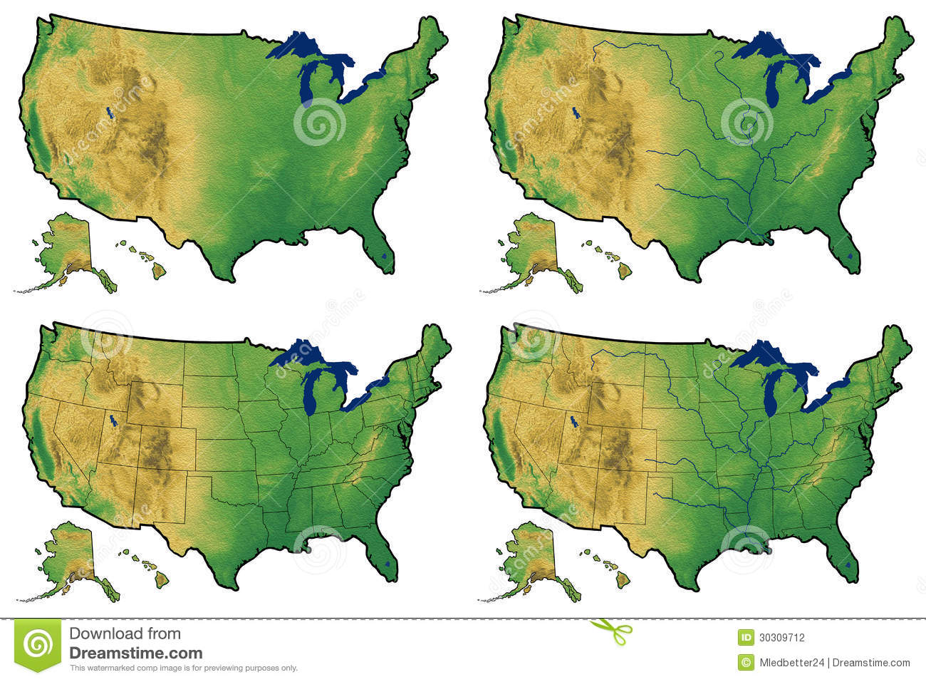 Four Versions Of Physical Map Of United States Stock Illustration ...