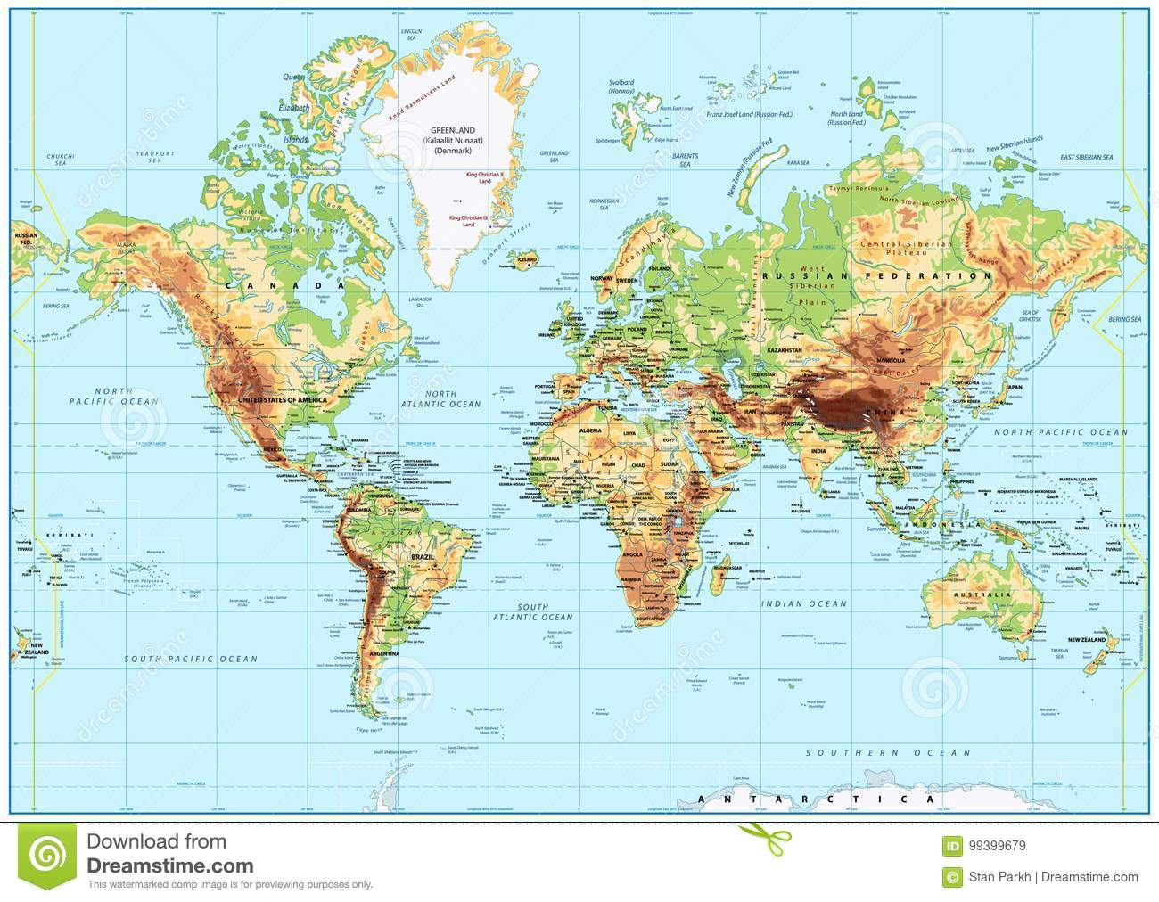 Detailed physical world map with labeling no bathymetry stock royalty free vector download detailed physical world map with labeling no bathymetry stock vector illustration of city gumiabroncs Images