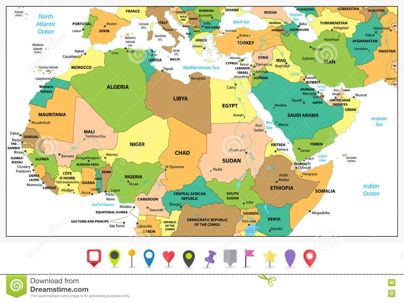 Detailed Political Map Of Northern Africa And The Middle East An ...