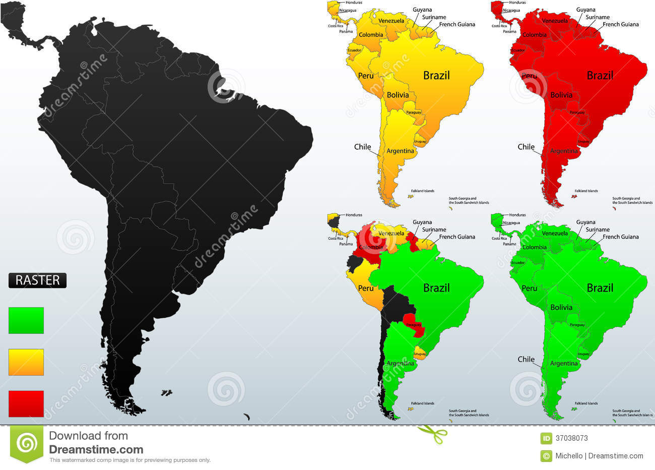 Detailed Political Map Of South America Stock Photos Image - Political south america map