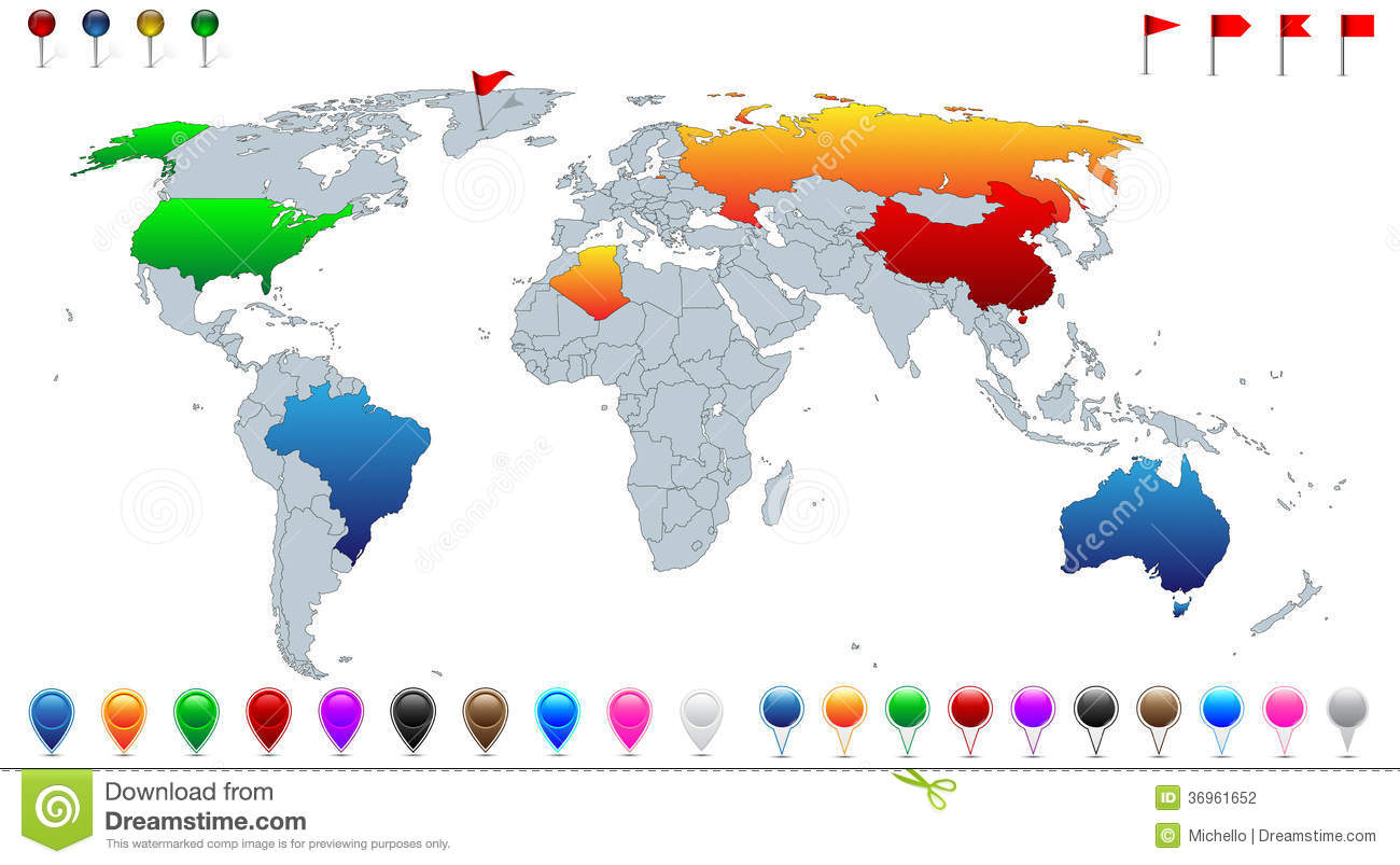 detailed political world map stock photography