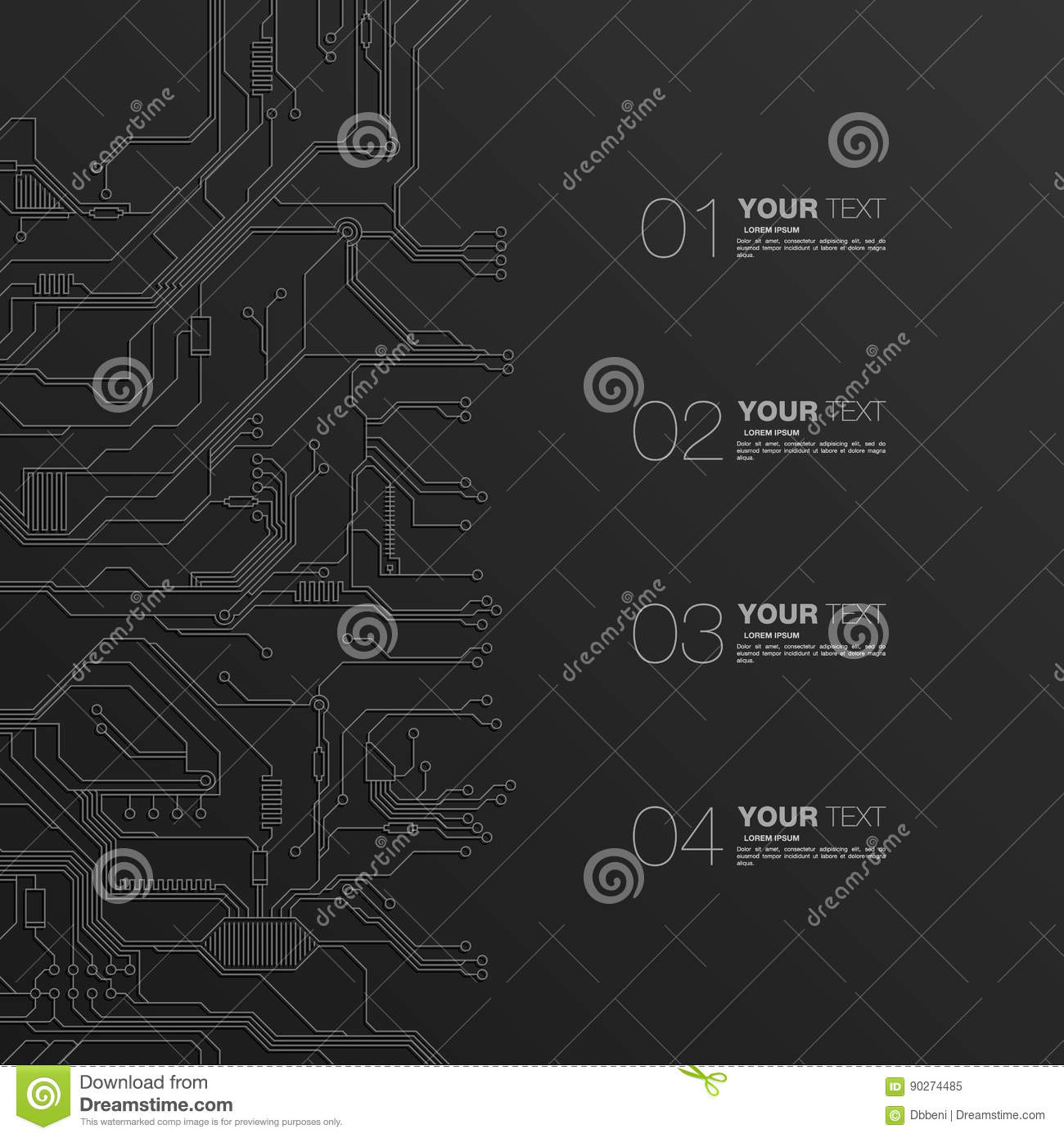 Detailed Printed Circuit Board Stock Vector Illustration Of Design