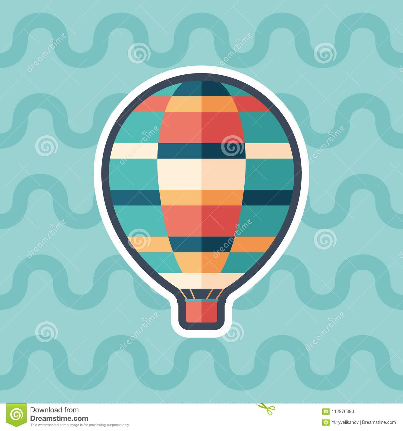 Air balloon sticker flat icon with color background.